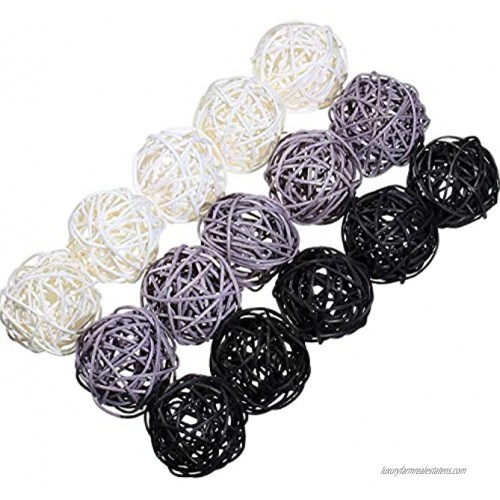 15 Pieces Wicker Rattan Balls Decorative Sphere Orbs Rattan Vase Fillers Balls for Christmas Party Wedding Baby Shower Home Garden Hanging Decoration Aromatherapy Accessories