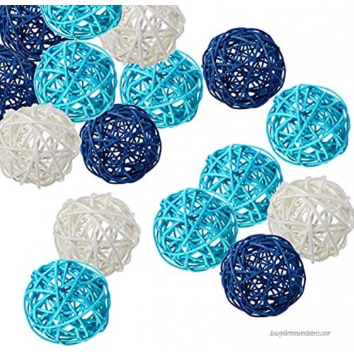Kubert 15PCS Mixed White Blue Wicker Rattan Ball Decoration Sphere vase Filler Used in Crafts Parties Valentine's Day Wedding Table Decoration Baby Shower