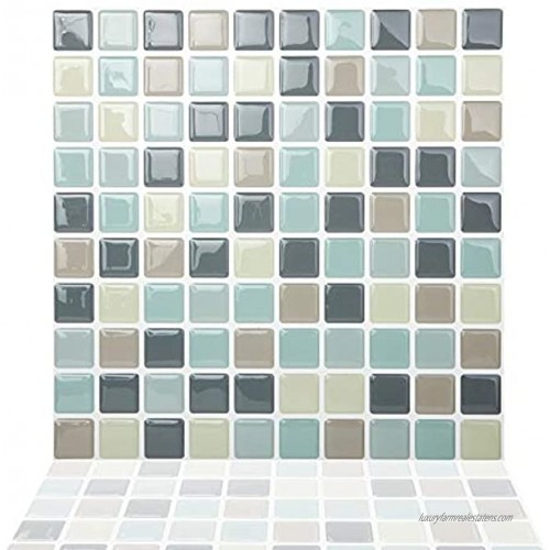 Tic Tac Tiles Peel and Stick Self Adhesive Removable Stick On Kitchen Backsplash Bathroom 3D Wall Tiles in Mosaic Designs Mintgrey 5