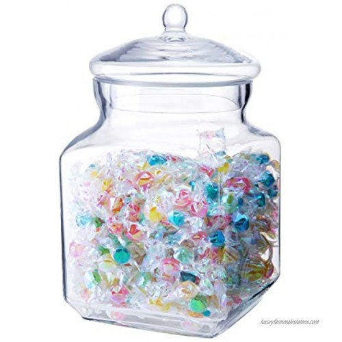Diamond Star Clear Glass Candy Jars Mason Canister Jar with Lid Storage for sweets animal treats dry goods and building blocks