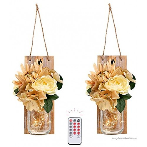 HOMKO Wall Sconces Mason Jar Lights Decorative Rustic Hanging Design with Remote Control LED Fairy Lights and Flowers Farmhouse Kitchen Decorations Home Decor Living Room Lights Set of Two