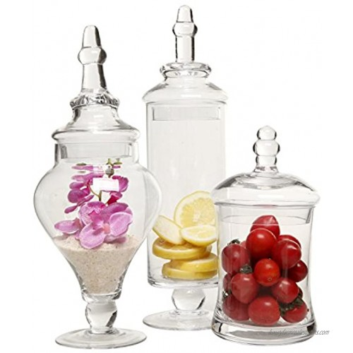 MyGift Designer Clear Glass Apothecary Jars 3 Piece Set Decorative Weddings Candy Buffet
