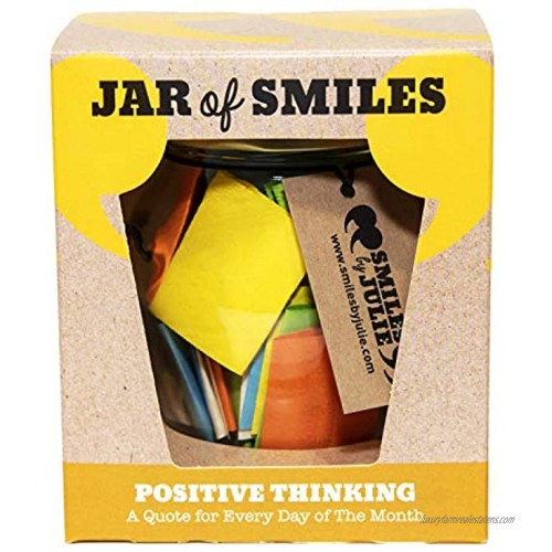 Smiles by Julie Positive Thinking Quotations In a Jar. An Inspirational Motivational Quote for every day of the Month. Keep on Track of your Challenges and Goals. Comes in its own Gift Box.