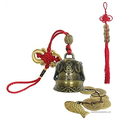 Feng Shui Bell with Five Emperor Money, Chinese Decor, Protect Peace and Ward Off Evil,Can Be Used as Wind Chimes Car Interiors Home Decorations,Can Bring Wealth and Safe Elephant Style