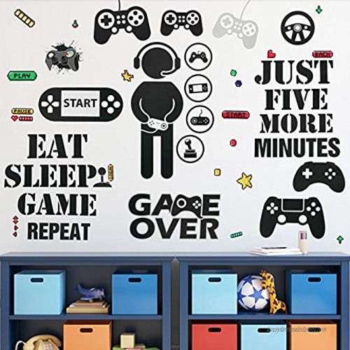 Gamer Wall Sticker Gamer Wall Decals Children Video Game Room Decor Gaming Controller Wall Stickers Removable DIY Cartoon Party Wallpaper for Gamer Bedroom Playroom Decor Classic Style