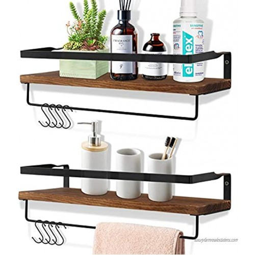 OurWarm Floating Shelves for Wall Set of 2 Rustic Wood Wall Mounted Storage Shelves for Bathroom Kitchen Bedroom Living Room with 2pcs Removable Towel Bar and 8 Hooks