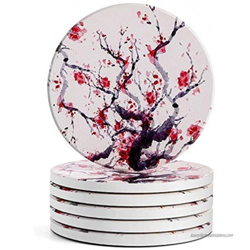 LIFVER Coasters for Drinks Absorbent 6 Piece Drink Coaster Sets Absorbent Coasters with Cork 4 Inch Cherry Style