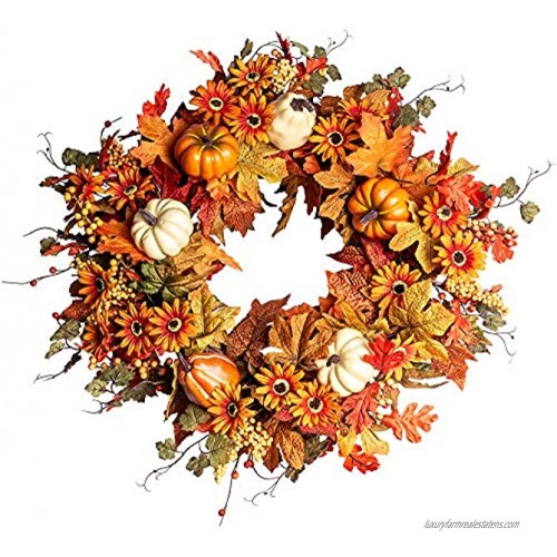 Artificial Fall Wreath,22 Autumn Wreath for Front Door with Big Pumpkins and Orange Daisy Flowers Fall Maple Leaf Wreath for Front Door and Thanksgiving Decor