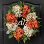 QUNWREATH Fall Wreath for Front Door 18 Inch Hydrangea Wreath Autumn Wreath Hello Wreath Wreath for Rustic Farmhouse Thanksgiving Autumn Front Door Decor White&Orange 18 inch