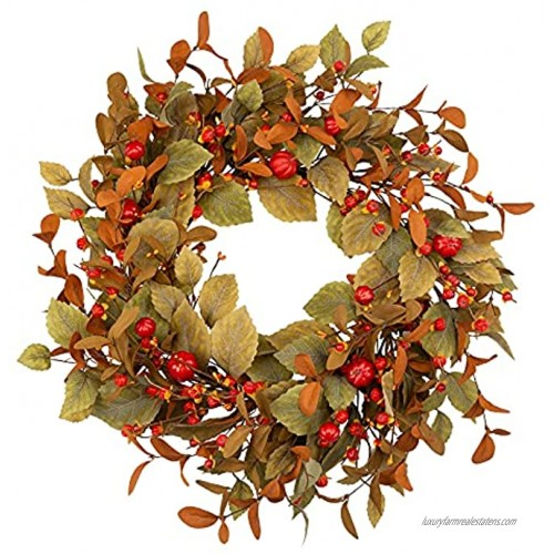 Skrantun 20 Inch Fall Wreath Fall Leaves Wreath with Tiny Pumpkins Artificial Autumn Wreath for Autumn Harvest Fall Decorations with Red Berries Thanksgiving Decorations