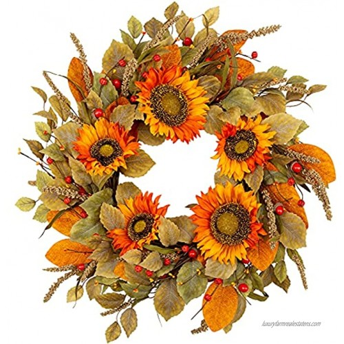 Skrantun 22 Inch Fall Wreath Sunflowers Wreath Artificial Front Door Wreath for Autumn Harvest Fall Decorations with Fall Leaves Autumn Wreath for Home Wall and Window