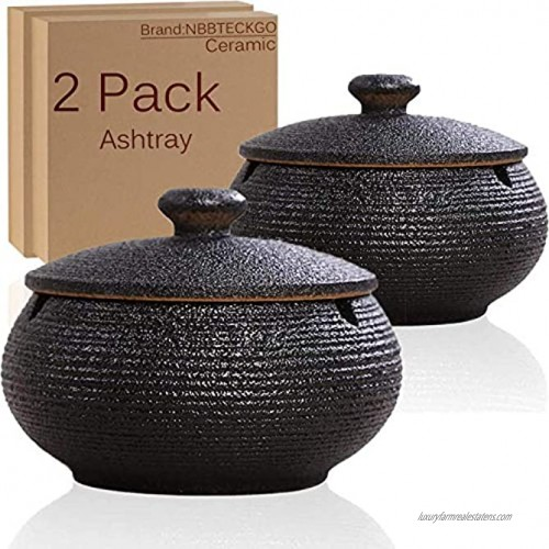 2 Pack Cigarettes Ashtrays with Lid Windproof for Indoor Outdoor Ceramic Ashtray Built in 3 Cigar Holders,Smoking Ash Tray Decor Home Desktop Office,Table Patio Bar KTV Father Men Smokers Gifts