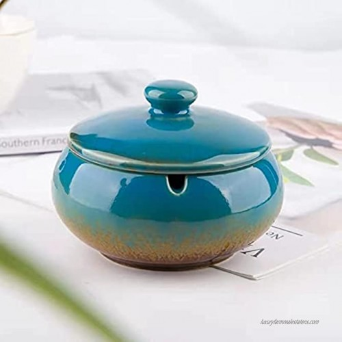 Ashtray Ceramic Ashtray with Lids Windproof Cigarette Ashtray for Indoor or Outdoor Use Handmade Ceramic Ashtray for Home Office Indoor Decoration Ash Holder for Smokers Blue