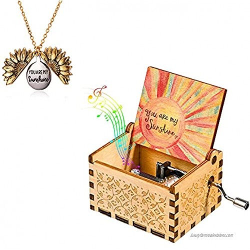 You are My Sunshine Music Boxes with Sunflower Necklace Vintage Wooden Hand Cranked Musical Box and Engraved Message Locket Pendant Sunshine Gift for Wife Daughter Sons Girlfriend Lover Mother