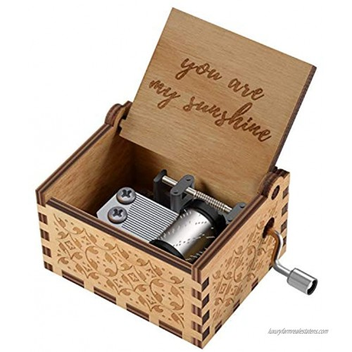 You are My Sunshine Wood Music Boxes,Laser Engraved Vintage Wooden Sunshine Musical Box Gifts for Birthday Christmas Valentine's Day You are My Sunshine
