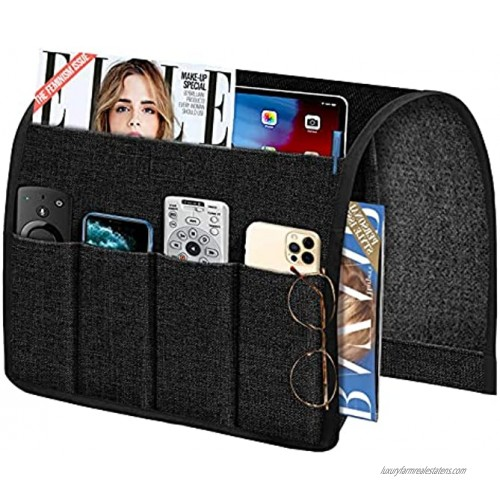 Joywell Sofa Armrest Organizer Non-Slip Linen Armchair Caddy Portable TV Remote Control Holder Bedside Caddy Leather Recliner Couch Pocket Organizer for Phone Magazine Glasses ipad,Black