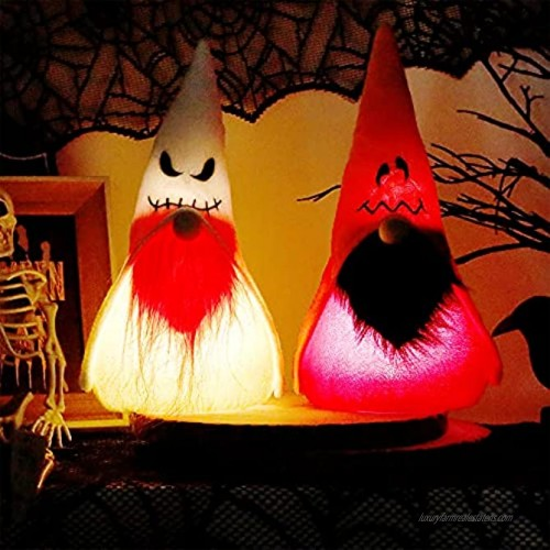 DR.DUDU Halloween Decorations Set of 2 Gnome with LED Lights Scandinavian Tomte Swedish Gnome Nisse Plush Doll Gift for Home Table Party Decor