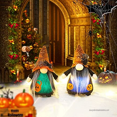 Lighted Halloween Gnomes Plush Decor 2 Pack Cute Tomte Swedish Gnome Nisse Scandinavian Gnomes Elf Ornaments with Orange Witch Hat and Pumpkin Pattern for Halloween Home Table Decorations and Gifts