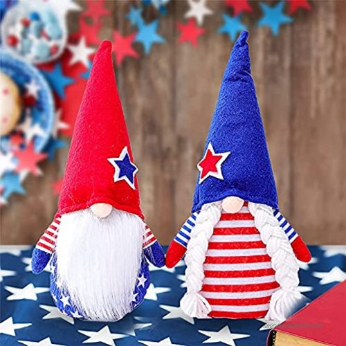 Patriotic Gnome 2PCS 4th of July Gnomes Plush Decorations Stuffed Ornaments Red White Blue Decor for Home Independence Day Memorial Day Veterans Day Gifts Handmade Scandinavian Tomte Elf Holiday Doll