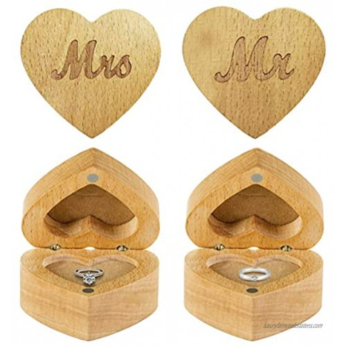 Strova Heart Shaped Wooden Ring Box for Wedding Rings – Set of 2 with Engraved Mr. & Mrs. Lettering – Ring Bearer Box for Display or Personal Organizer – Protective Ring Cushions and Magnetic Closure