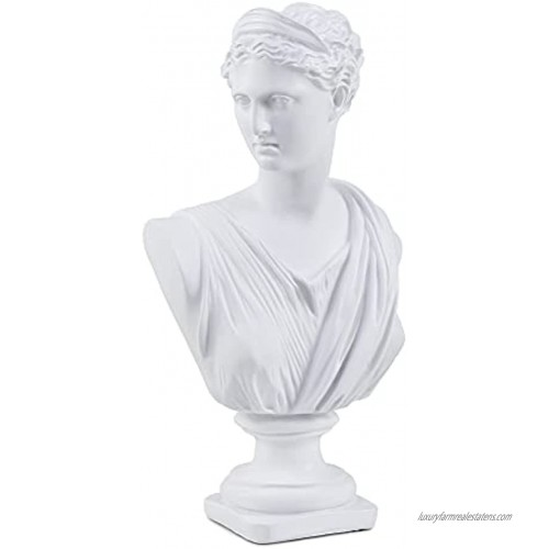 11.8 Inch Classic Greek White Athena Woman Bust Statue Large Resin Roman Goddess Anna Sculpture for Home Décor