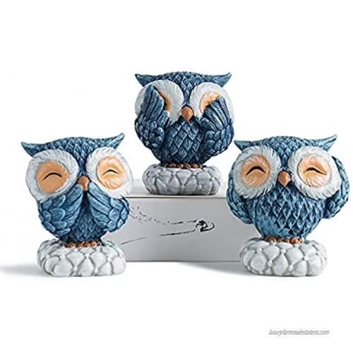 FJS Cute Owl Statue Resin Blue Owl Figurine Set of 3 Nice Decoration for Living Room Bedroom Office Book Shelf TV Stand Decor Gifts for Birds Lovers