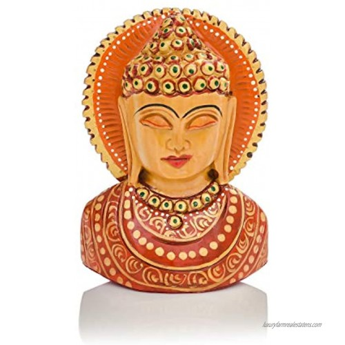 CKHandicrafts Lord Buddha Bust Handmade and Hand Brush Painted Wooden 4 Inch Statue