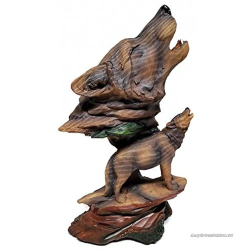 Wolf Decor Carved Wood Look Figurine Bust 9-inches