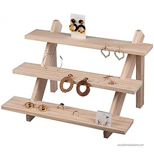 Eiyye 3-Tier Retail Display Riser Earring & Ring Holder Stand Unfinished Rustic Wood Frame Display Removable Showcase Cascading Merchandise Vintage Solid Organizer Tray Log