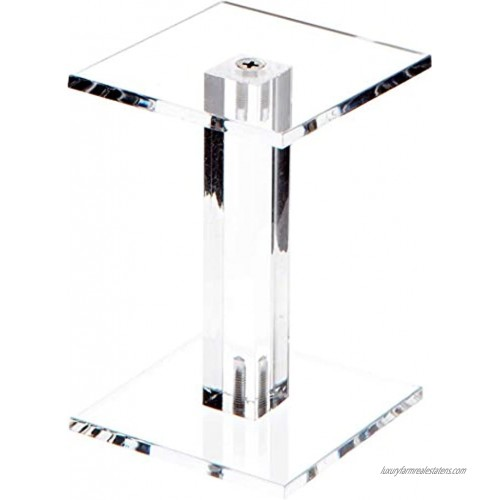 Plymor Clear Acrylic Square Barbell Pedestal Display Riser 4.375 inches Height x 3 inches Width x 3 inches Depth 3 16 inches Thick 2 Pack