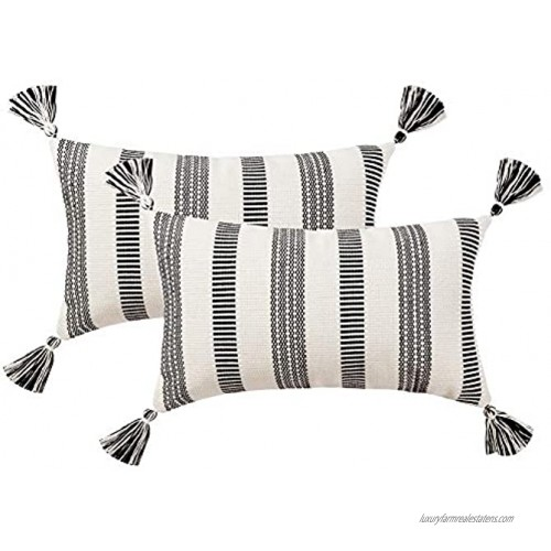 blue page Set of 2 Cotton Woven Lumbar Throw Pillow Covers Black White Stripe Neutral Pillow Cases Small Decorative Cushion Cover 12x20 Inches 2 Pack