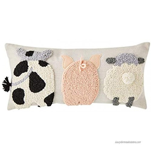 Mud Pie Raised Hook Farm Animal Pillow 1 Count Pack of 1 White
