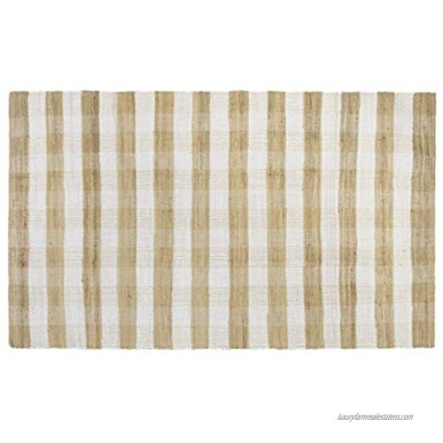 GLAMBURG Cotton Reversible Area Rug 3' x 5' Farmhouse Floor Mat Handwoven Washable Carpet Checkered Plaid Rug for Front Porch Living Room Kitchen Bedroom Beige Natural