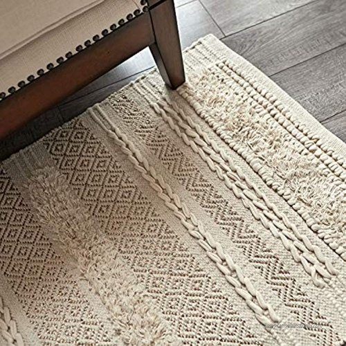 MOTINI Tufted Cotton Area Rug 2' x 3' Hand Woven Knotted Boho Small Shag Rug Cozy Beige Ivory with Gold Metallic Thread Accent Throw Rug for Living Room Bedroom Entryway