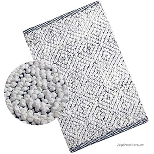 Woven St Luxury Chenille Microfiber Bath Rug Floor mat for Spa Vanity Shower Super Soft Machine Washable for Bathroom Kitchen Water Absorbent Anti-Skid Bedroom Area Rugs 21 x 34 White and Navy
