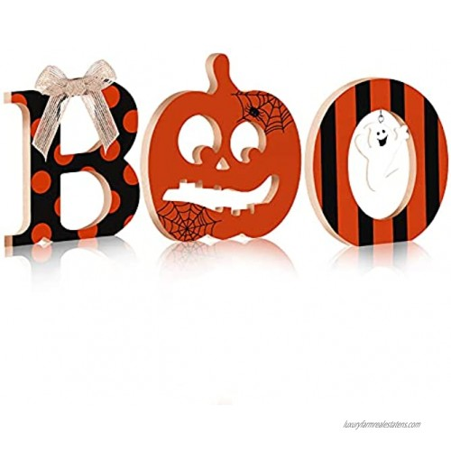 3 Pieces Halloween Table Wood Sign Decor Halloween Boo Letters Sign Halloween Wooden Boo Centerpiece Table Decoration for Home Kitchen Party
