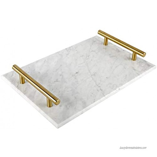 HighFree Marble Stone Decorative Tray Perfume Tray with Copper-Color Metal Handles Handmade Jewellery Tray Catchall Tray Trinket Tray for Counter Vanity Dresser Nightstand and Desk White