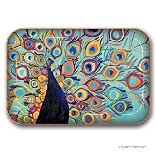 Medium Metal Catchall Tray by Studio Oh! Eli Halpin Peacock 7 x 4.75 Dish Tray with Unique Full-Color Artwork Holds Jewelry Change Paperclips & Trinkets