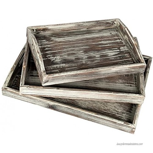 MyGift Country Rustic Torched Wood Nesting Breakfast Serving Trays with Handles Set of 3