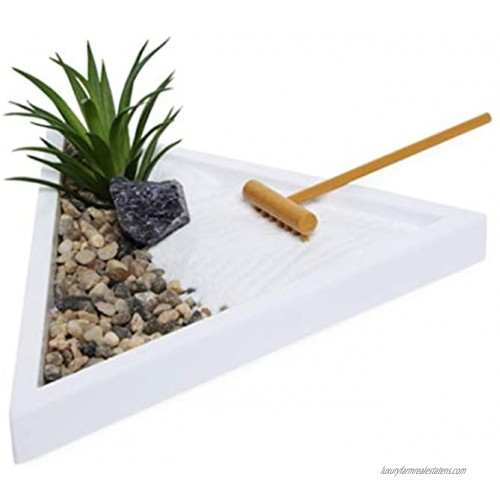 Room2Room Desktop Mini Meditation Zen Garden Tray for Stress Relief 7 by 6 inch with Salt Rock Faux Succulent Natural Rocks Rake and Sand