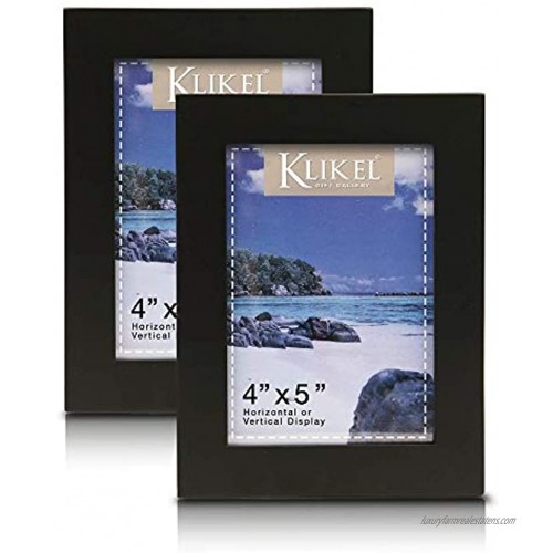 Klikel Black Picture Frame Set of 2 4 X 5 Black Wooden Photo Frame Made of Real Wood With Glass Photo Protection Wall Hanging And Table Standing Display