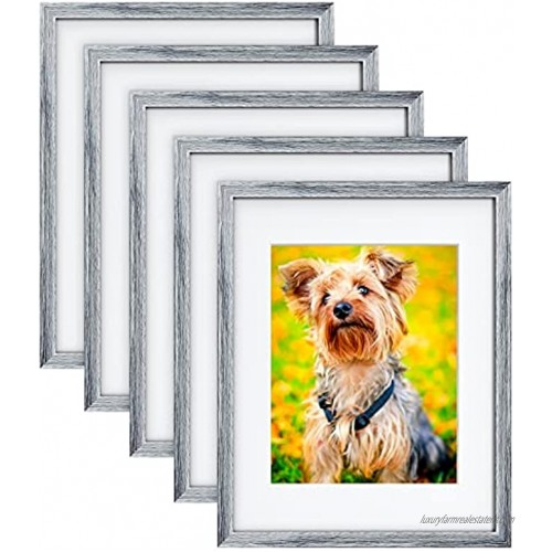 MONINXS 11×14 Elegant Pictures Frames Display Picture 8x10 with Mat or 11x14 Without Mat Wall Mounted Frames or Tabletop Display Modern Photo Frame Set with Mat 5 Packs Light Grey MNPF02G