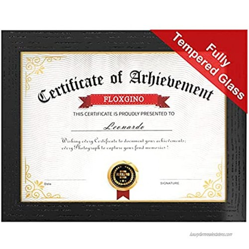 8.5x11 Diploma frame Red Oak Solid Wood Fully Tempered Real Glass & UV Protection Certificate Documente Frame Degree Frame Designed by FLOXGINO