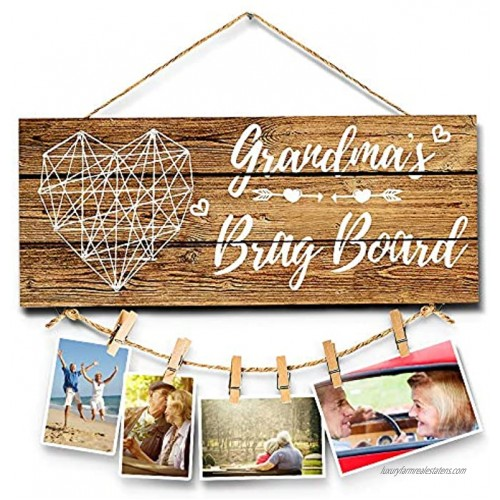 KAZOLEN Grandma's Brag Board Grandma Gifts Photo Holders Gifts for Granny from Granddaughter and Grandson Home Wall Decor Sign Best Birthday Party with Clips & Twine 13.5x5.5 Inches