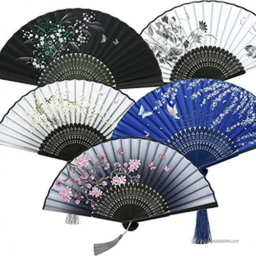 5 Pieces Handheld Floral Folding Fans Vintage Retro Hand Held Fans Silk Bamboo Fans with Tassel Hollowed Bamboo Hand Holding Fans for Women and Men