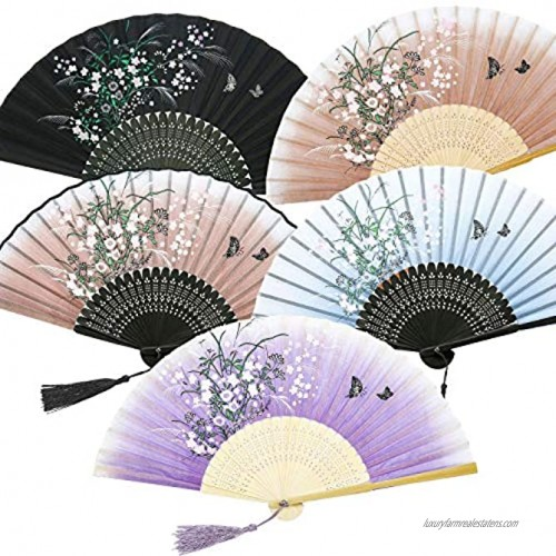 5 Pieces Handheld Floral Folding Fans Vintage Silk Hand Held Fans with Tassel and Sleeves Women's Hollowed Bamboo Hand Holding Fans for Women and Men 5 Colors