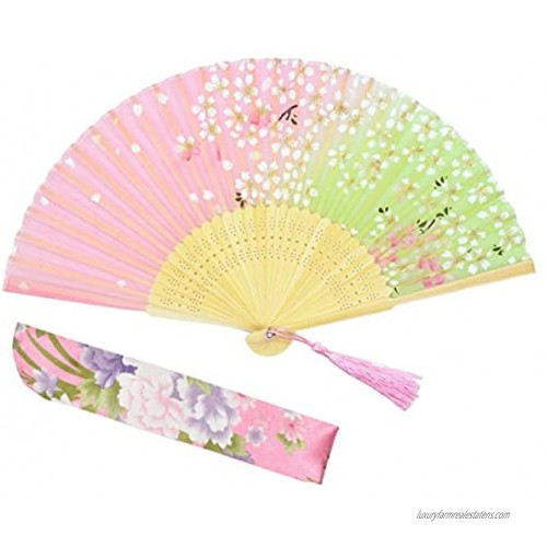 """Lysa Women Hand Held Silk Folding Fan with Bamboo Frame-Silk Tissue Protective Sleeve Chinese Japanese Style of """"Sakura Butterfly Love"""" Pattern WZS-45"""