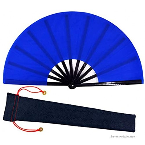 meifan Large Chinese Kung Fu Tai Chi Hand Fan for Men Women Hand Held Dance Folding Fans with a Fabric Case for Protection Blue