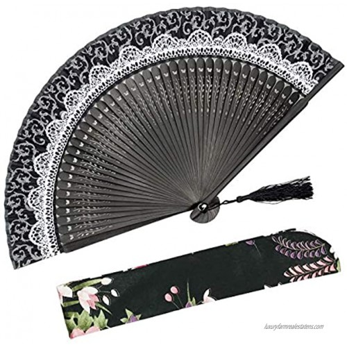 OMyTea Folding Hand Held Rave Bamboo Fan for Women Chinese Japanese Spanish Lace Pattern Handheld Fan for Wedding Decoration Performance Dancing Church Party Gifts Black