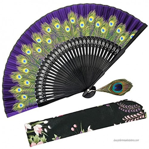 OMyTea Hand Held Folding Fan for Women Peacock Chinese Japanese Oriental Asian Style for Wedding Dancing Church Party Gifts Purple
